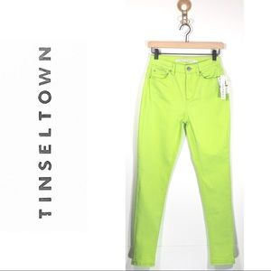 NWT Neon Green High Rise Ankle Skinny Jeans 26